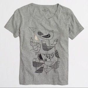Jcrew collectors tee size XL gray with bird print